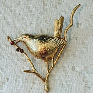 Joan Rivers Bird on Holly Branch Gold Tone Pin
